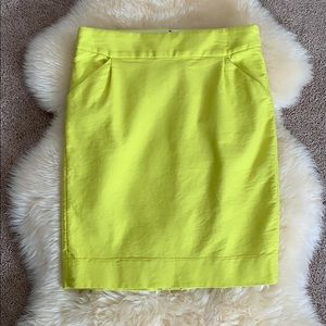 JCrew Pencil Skirt with Pockets, neon, size 8